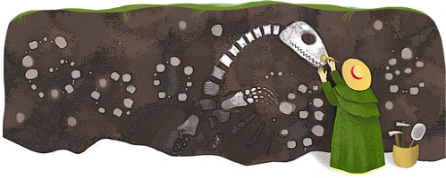 Mary Anning uncovering a marine reptile in today's Google doodle. (Google)